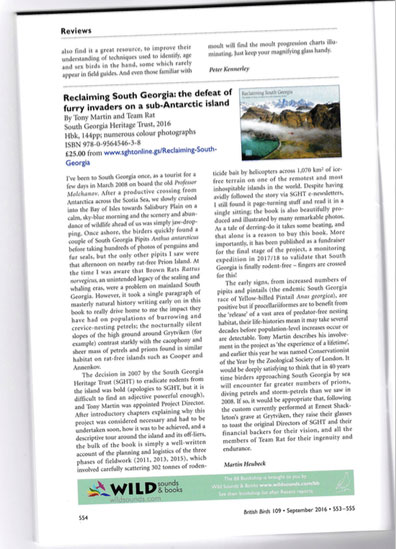 Reclaiming South Georgia – Review in British Birds Magazine
