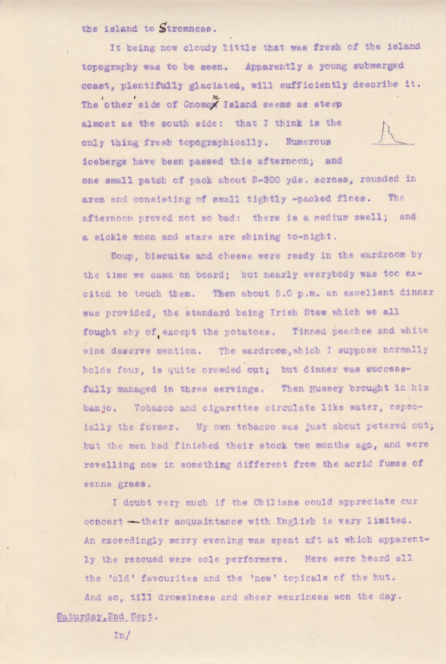 Elephant Departure 2. Private diary extract from Sir James Wordie Geologist and Chief of Scientific Staff, Imperial Trans-Antarctic Expedition of 1914-1917. Courtesy of his Grandson Roddie Wordie and The Ultimate Travel Company.