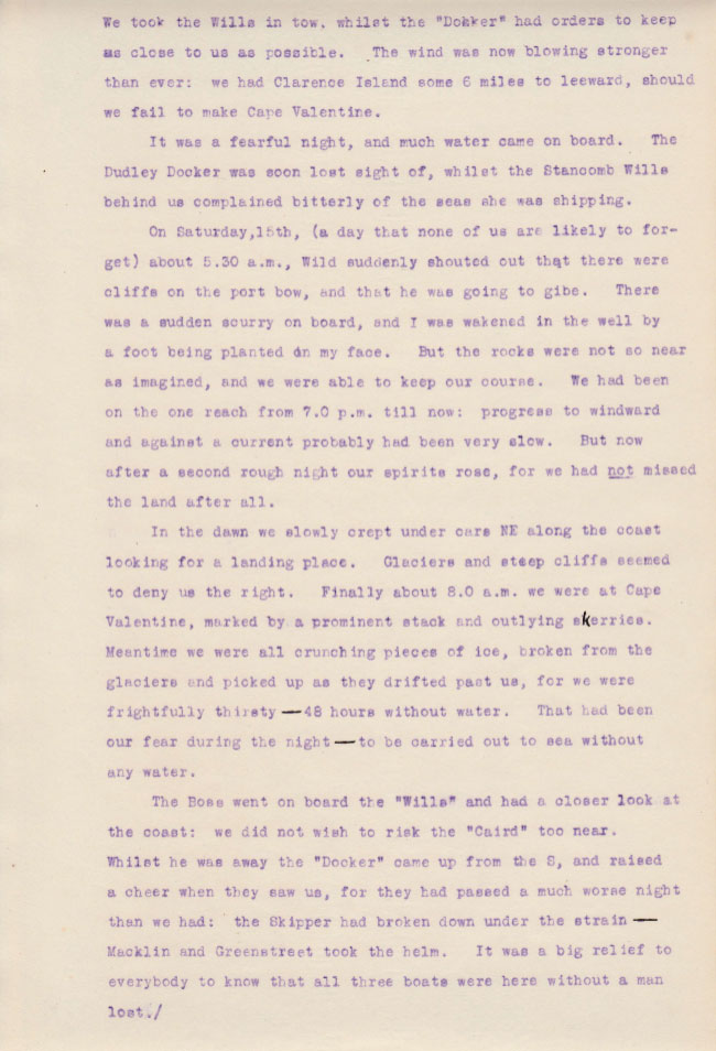 Elephant Island Landing 1. Private diary extract from Sir James Wordie Geologist and Chief of Scientific Staff, Imperial Trans-Antarctic Expedition of 1914-1917. Courtesy of his Grandson Roddie Wordie and The Ultimate Travel Company.
