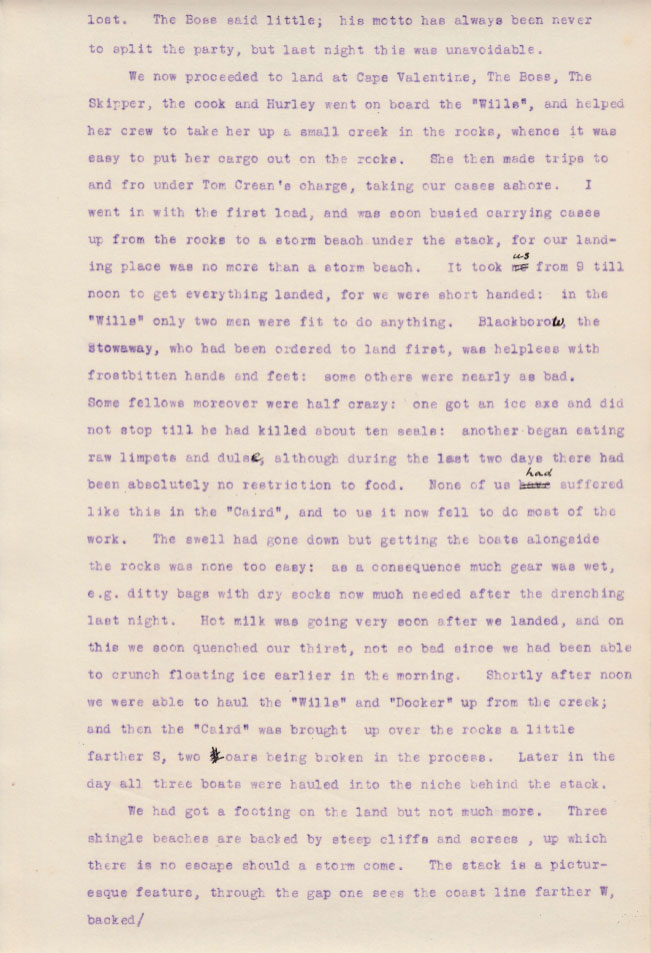 Elephant Island Landing 2. Private diary extract from Sir James Wordie Geologist and Chief of Scientific Staff, Imperial Trans-Antarctic Expedition of 1914-1917. Courtesy of his Grandson Roddie Wordie and The Ultimate Travel Company.