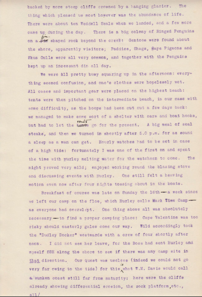 Elephant Island Landing 3. Private diary extract from Sir James Wordie Geologist and Chief of Scientific Staff, Imperial Trans-Antarctic Expedition of 1914-1917. Courtesy of his Grandson Roddie Wordie and The Ultimate Travel Company.