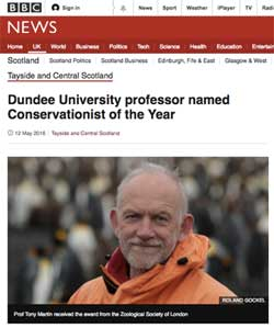 Prof Tony Martin, SGHT Habitat Restoration Project Director,named Conservationist of the Year